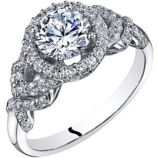 Oravo 14K White Gold Cubic Zirconia Engagement Ring 1.00 Carat Halo Style