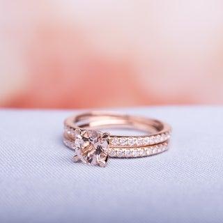 Miadora Signature Collection 14k Rose Gold Morganite and 3/5ct TDW Diamond Bridal Ring Set