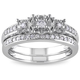 Miadora 10k White Gold 1/4ct TDW Diamond 3-Stone Bridal Ring Set