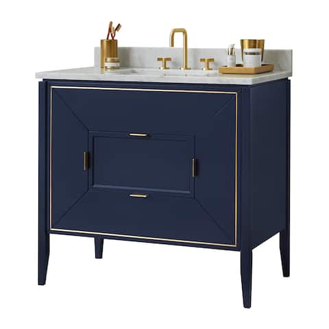 "Ronbow 36"" Amora Bathroom Vanity Set in Navy with Natural Carrara Marble"