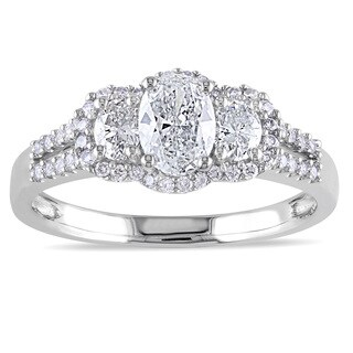 Miadora Signature Collection 14k White Gold 1ct TDW Certified Oval-cut Diamond Engagement Ring