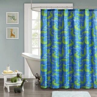 Mi Zone Kids Later Alligator Navy Ultra Soft Microfiber Crocodile Printed Shower Curtain