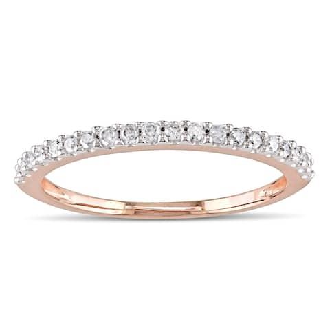 Miadora 10k Rose Gold 1/5ct TDW Diamond Eternity Wedding Band Ring - White