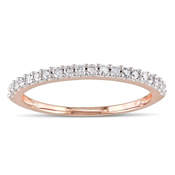 Miadora 10k Rose Gold 1/5ct TDW Diamond Eternity Wedding Band Ring - White