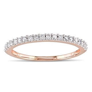 Miadora 10k Rose Gold 1/5ct TDW Diamond Eternity Wedding Band Ring
