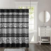 Madison Park Kenya Black Animal Printed Ultra Soft Microfiber Shower Curtain