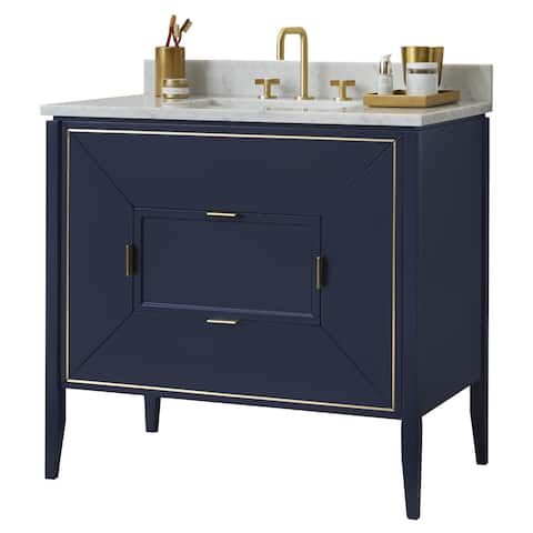 "Ronbow 36"" Amora Bathroom Vanity Cabinet Base in Navy"
