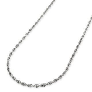 14k White Gold 1.5mm Solid Rope Diamond Cut Chain Necklace