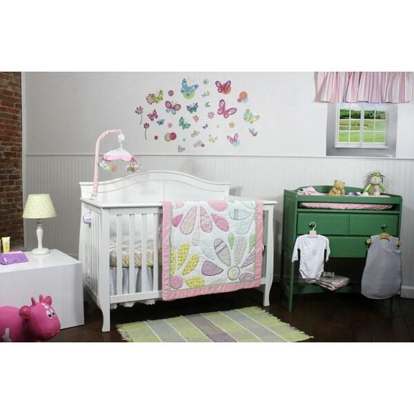 Nurture Butterflies & Daisies Cotton 3-piece Bedding Set
