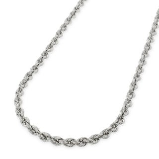 14k White Gold 2.5mm Solid Rope Diamond Cut Chain Necklace