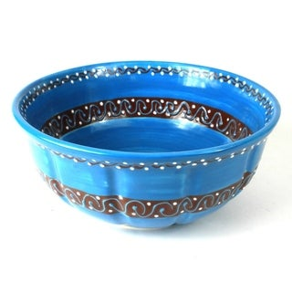 Handcrafted Large Serving Bowl - Azure Blue (Mexico)