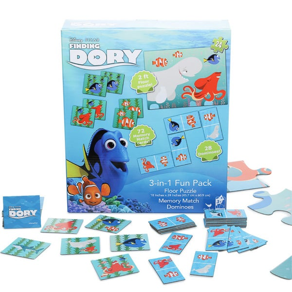 Disney's Finding Dory 3-in-1 Puzzle, Dominoes, Floor Memory Match Game