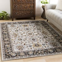 Laurel Creek Thomas Damask Black Border Area Rug (7'10 x 10'3)
