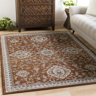 Myrta Burnt Orange Vintage Damask Area Rug (6'7x9'6)