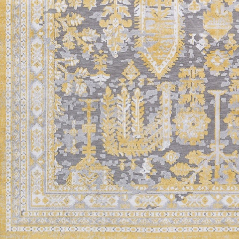 """Copper Grove Urbion Vintage Damask Bright Yellow Area Rug - 7'10"""" x 10'3"""""""