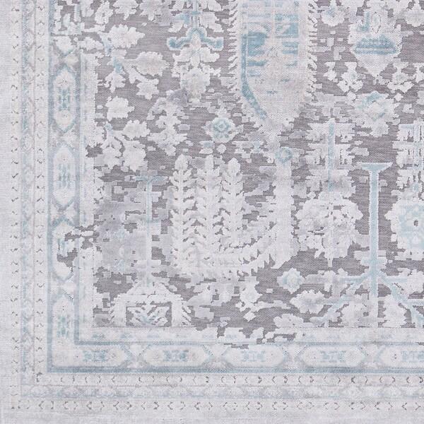 "Carbey Vintage Damask Medium Grey Viscose Area Rug (7'10 x 10'3) - 7'10"" x 10'3"""