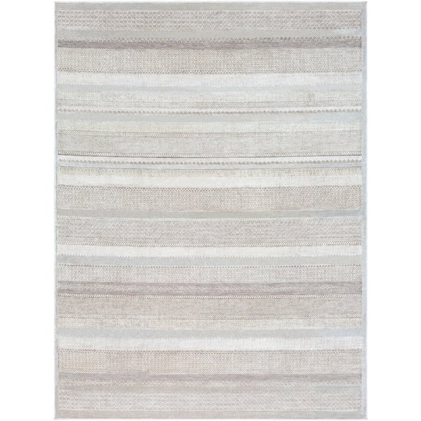 "Drew Modern Stripe Medium Grey Area Rug - 7'10"" x 10'3"""