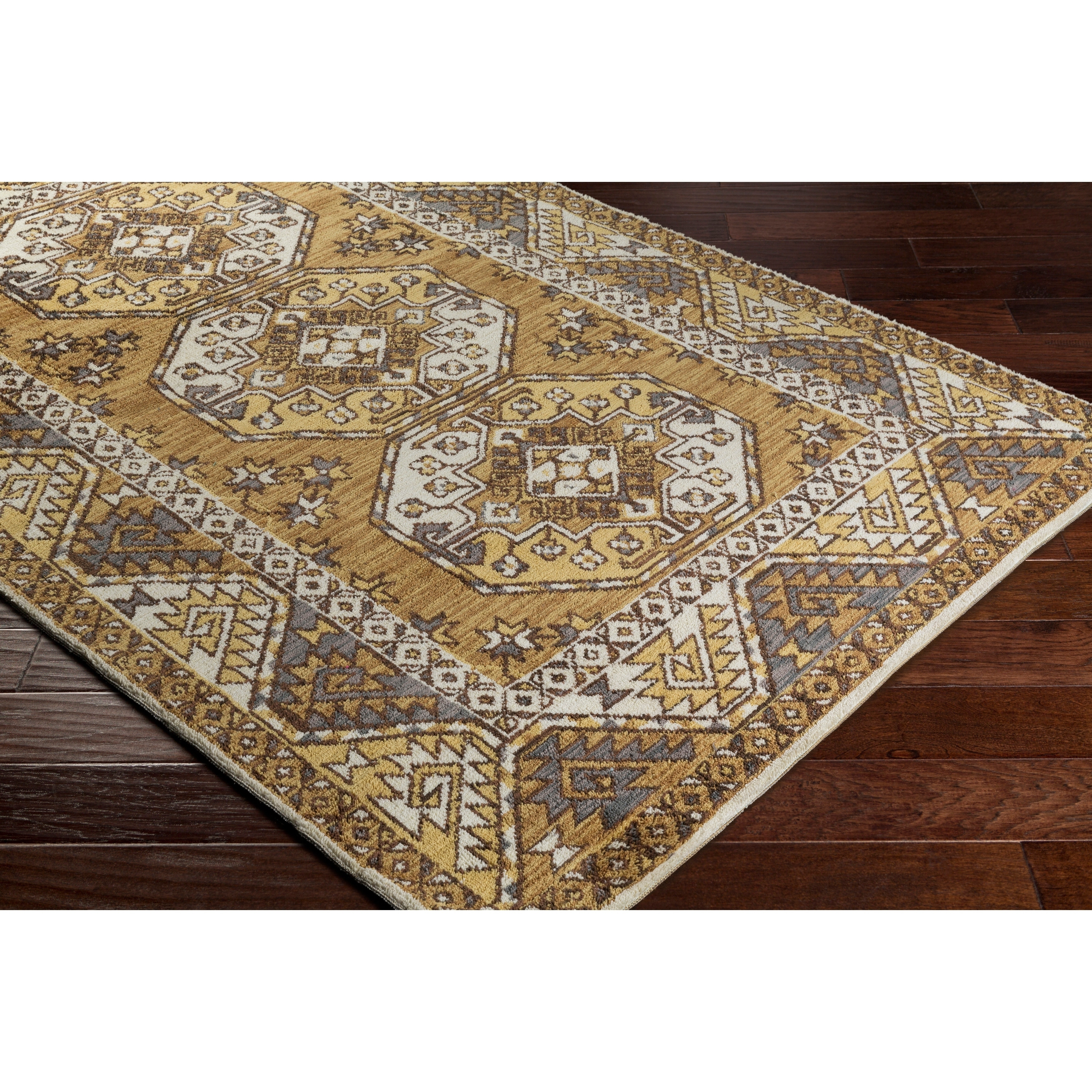 Image of: Shop Black Friday Deals On Abalos Southwestern Mustard Border Area Rug 9 X 12 9 X 12 Overstock 17096394