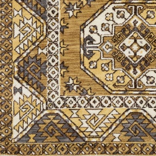Abalos Southwestern Mustard Border Rug (9' x 12')