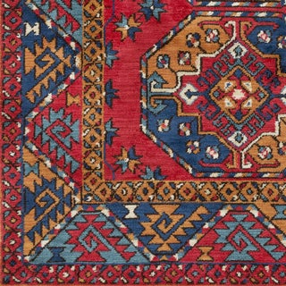 Abalos Bright Red Southwestern Border Area Rug (9' x 12')