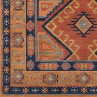 Ezrah Bright Orange Traditional Southwestern Area Rug (9' x 12')