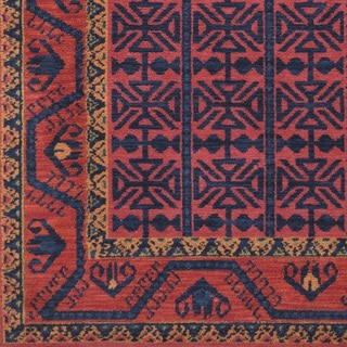 Gideonn Southwestern Border Bright Red Rug (9' x 12')