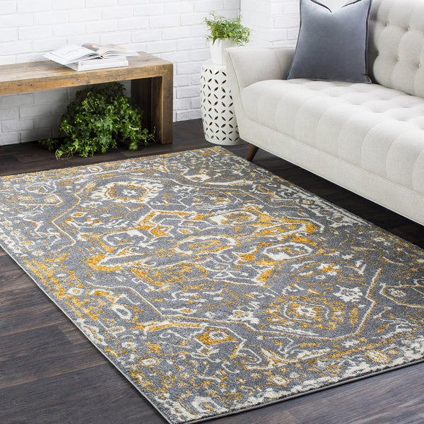 "Vintage Traditional Medallion TVMD1 Charcoal Area Rug (6'7 x 9'6) - 6'7"" x 9'6"""
