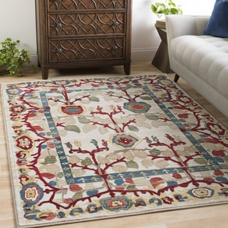 Sylvia Ivory Vintage Tree of Life Area Rug (9' x 12'3) - 9' x 12'3""