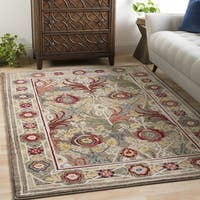 Gracewood Hollow Gloria Medium Brown Vintage Floral Area Rug (9' x 12'3)