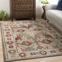 Gracewood Hollow Gloria Medium Brown Vintage Floral Area Rug - 7'10 x 9'10