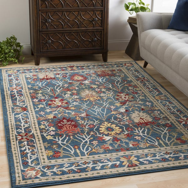 William Blue Rustic Vintage Area Rug (9' x 12'3) - 9' x 12'3""
