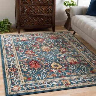 "William Blue Rustic Vintage Area Rug (7'10 x 9'10) - 7'10"" x 9'10"""