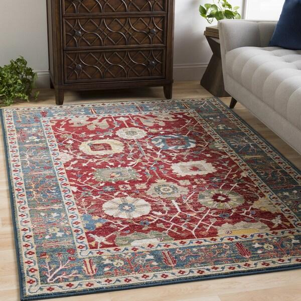shop jones red blue vintage vines area rug 7 39 10 x 9 39 10 on sale free shipping today. Black Bedroom Furniture Sets. Home Design Ideas