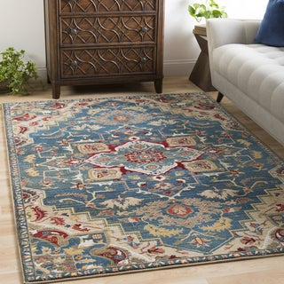 "Morris Blue & Red Vintage Medallion Area Rug - 7'10"" x 9'10"""