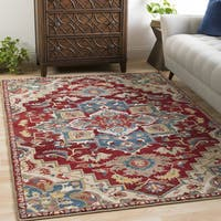 Morris Dark Red & Beige Vintage Medallion Area Rug - 9' x 12'3