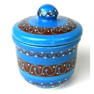 Handcrafted Sugar Bowl - Azure Blue (Global Crafts) ()