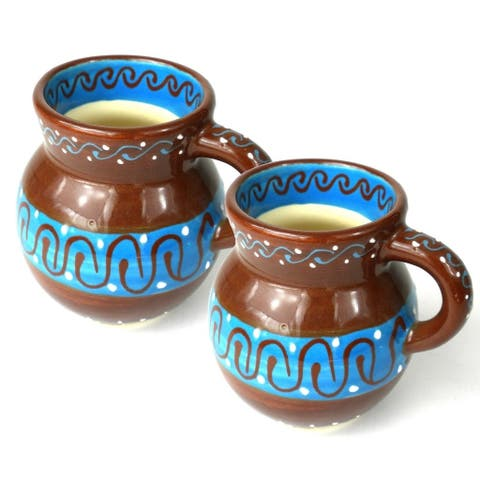 Set of Two Handmade Beaker Cups - Chocolate (Mexico)