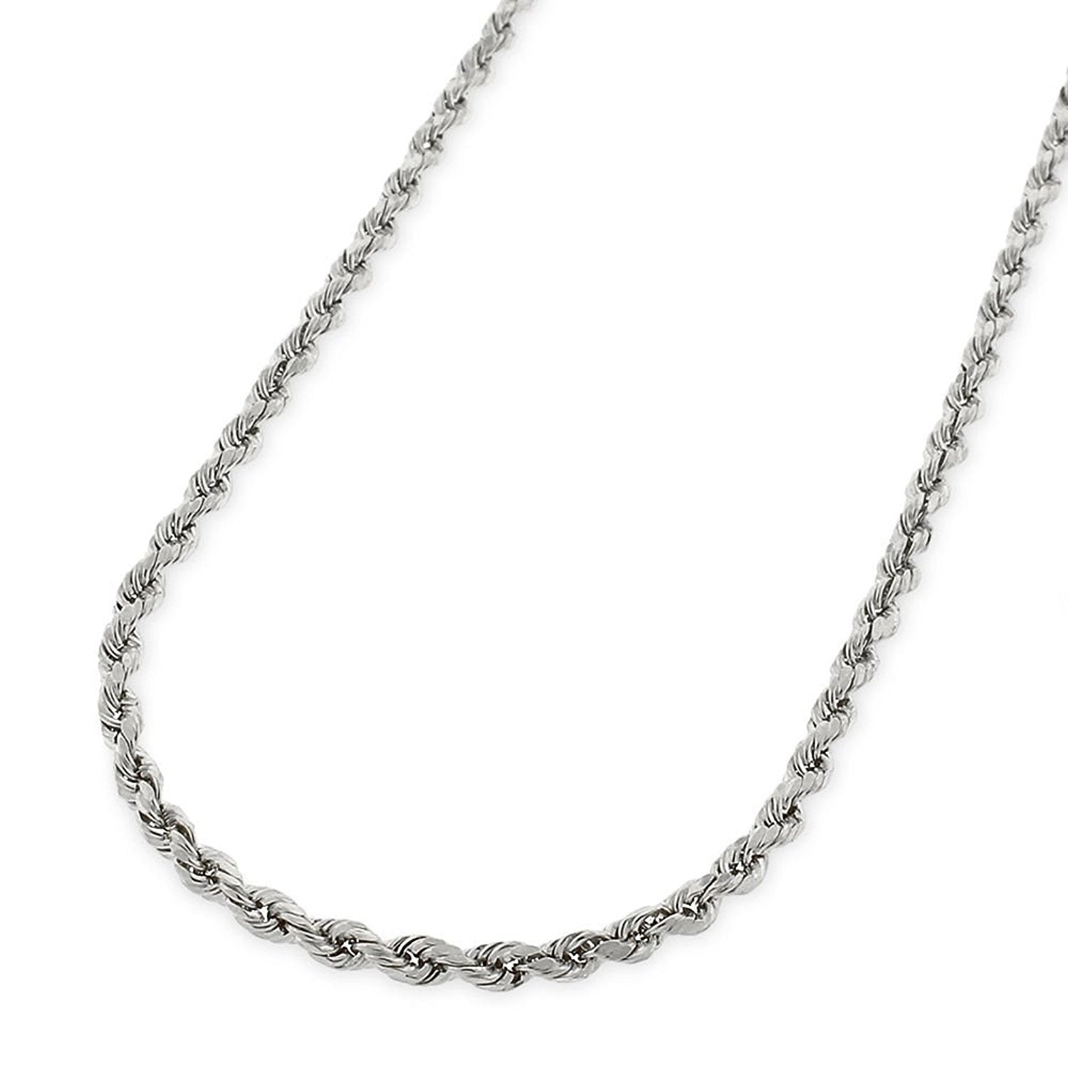 14K 2mm White Gold Star Chain Necklace