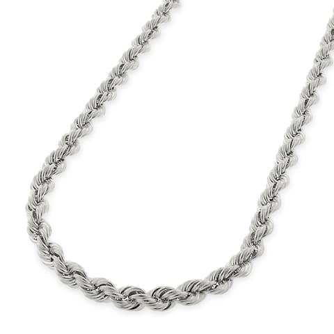 6b7cd2b4d214e6 Authentic 14k White Gold 3mm Solid Rope Diamond-Cut Braided Twist Link  Necklace Chain 18