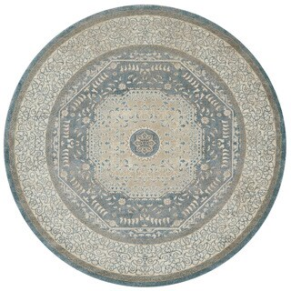 Kendrick Blue/ Sand Medallion Rug (9'3 x 9'3 Round)