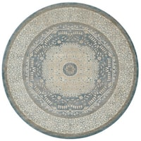 Traditional Blue/ Beige Medallion Border Round Rug - 9'3