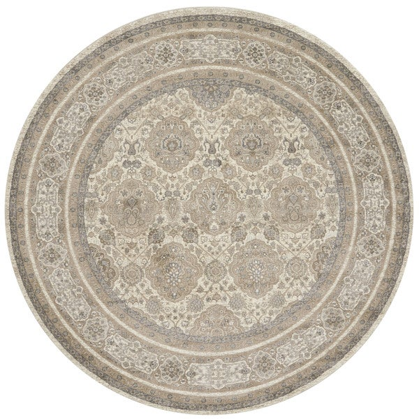 """Traditional Beige/ Taupe Floral Border Round Rug - 9'3"""" x 9'3"""" Round"""