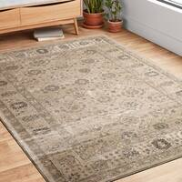 Traditional Taupe Floral Border Round Rug - 9'3