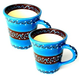 Set of Two Handmade Flared Cups - Azure Blue (Mexico)