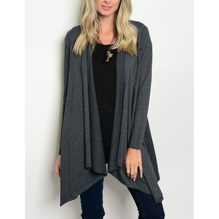 JED Women's Charcoal Long Sleeve Cotton Cardigan