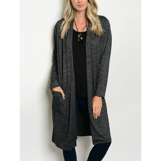 JED Women's Long Sleeve Knitted Charcoal Cardigan