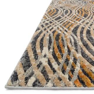 "Alexander Home Phaedra Abstract Charcoal/Gold Rug - 2'3"" x 10'"