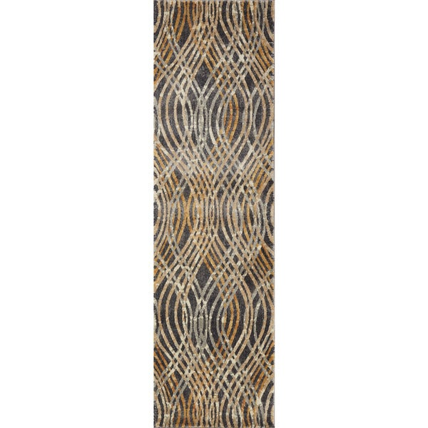 Phaedra Abstract Charcoal/ Gold Rug - 2'3 x 10'