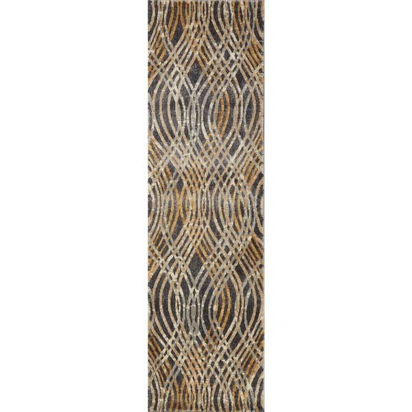 "Phaedra Abstract Charcoal/ Gold Rug - 2'3"" x 8'"