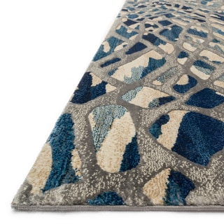 """Phaedra Abstract Artic Blue/ Silver Rug - 2'3"""" x 8'"""